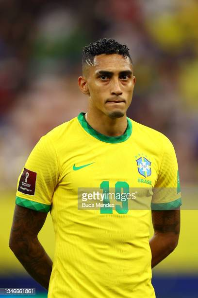 Raphinha of Brazil looks on prior to a match between Brazil and Uruguay as part of South American Qualifiers for Qatar 2022 at Arena Amazonia on...