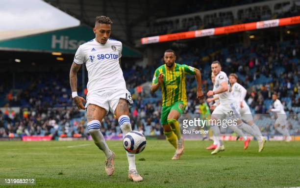 Raphinha of Leeds in action during the Premier League match between Leeds United and West Bromwich Albion at Elland Road on May 23, 2021 in Leeds,...