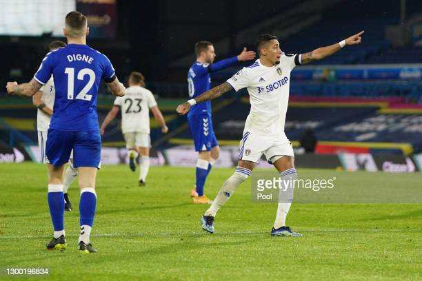 Raphinha of Leeds United celebrates after scoring his team's first goal during the Premier League match between Leeds United and Everton at Elland...