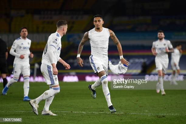Raphinha of Leeds United celebrates after scoring their sides third goal during the Premier League match between Leeds United and Southampton at...