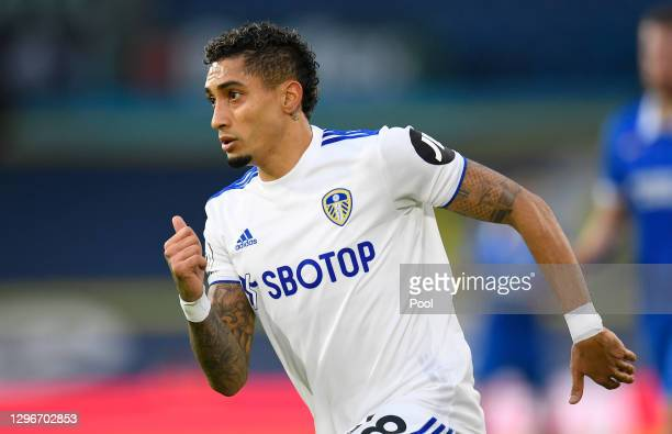 Raphinha of Leeds United in action during the Premier League match between Leeds United and Brighton & Hove Albion at Elland Road on January 16, 2021...