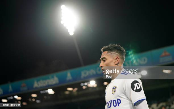 Raphinha of Leeds United looks on during the Premier League match between Leeds United and Crystal Palace at Elland Road on February 08, 2021 in...