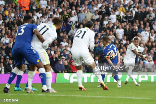 Raphinha of Leeds United scores their side's second goal during the Premier League match between Leeds United and Everton at Elland Road on August...