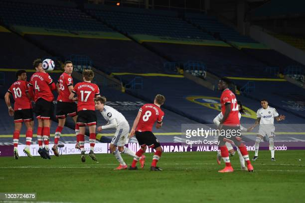 Raphinha of Leeds United scores their sides third goal from a free kick during the Premier League match between Leeds United and Southampton at...