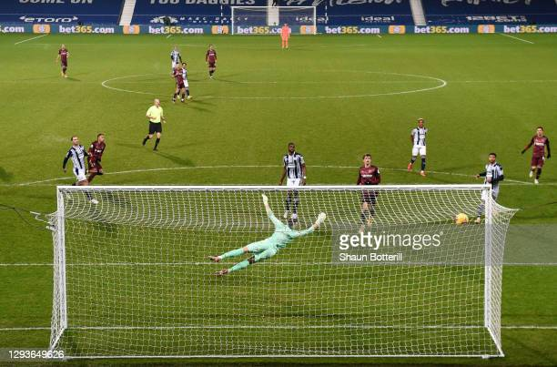 Raphinha of Leeds United scores their team's fifth goal during the Premier League match between West Bromwich Albion and Leeds United at The...