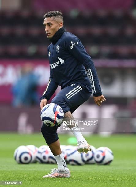 Raphinha of Leeds United warms up prior to the Premier League match between Burnley and Leeds United at Turf Moor on May 15, 2021 in Burnley,...
