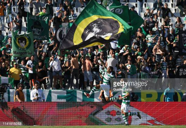 Raphinha of Sporting CP celebrates after scoring a goal during the Liga NOS match between Belenenses SAD and Sporting CP at Estadio Nacional on May 5...