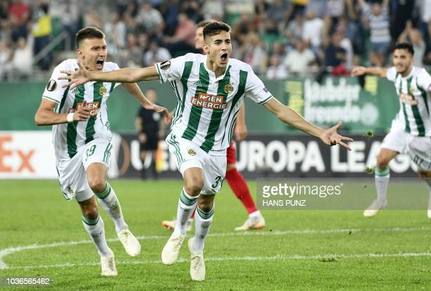 Andrei Ivan of Rapid gestures during the UEFA Europa League match between SK Rapid Wien v Spartak Moscow at Allianz Arena on September 20 2018 in...