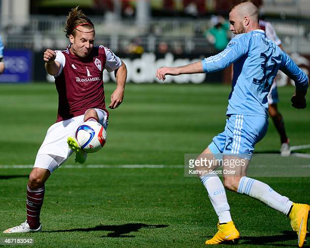 Rapids Michael Harrington tries to pass past NYC's Adam Nemec The Colorado Rapids take on the New York City FC on opening day at Dick's Sporting...