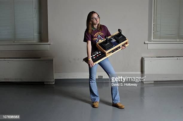 Rappahannock Virginia's Commonwealth Governor's School's Rappahannock Robotics team member Sarah Cameron displays her team's control board after...