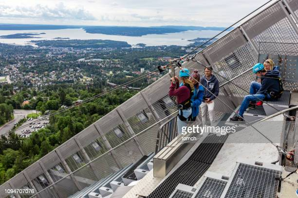 Rappelling from the top of the Holmenkollen ski jump in Oslo