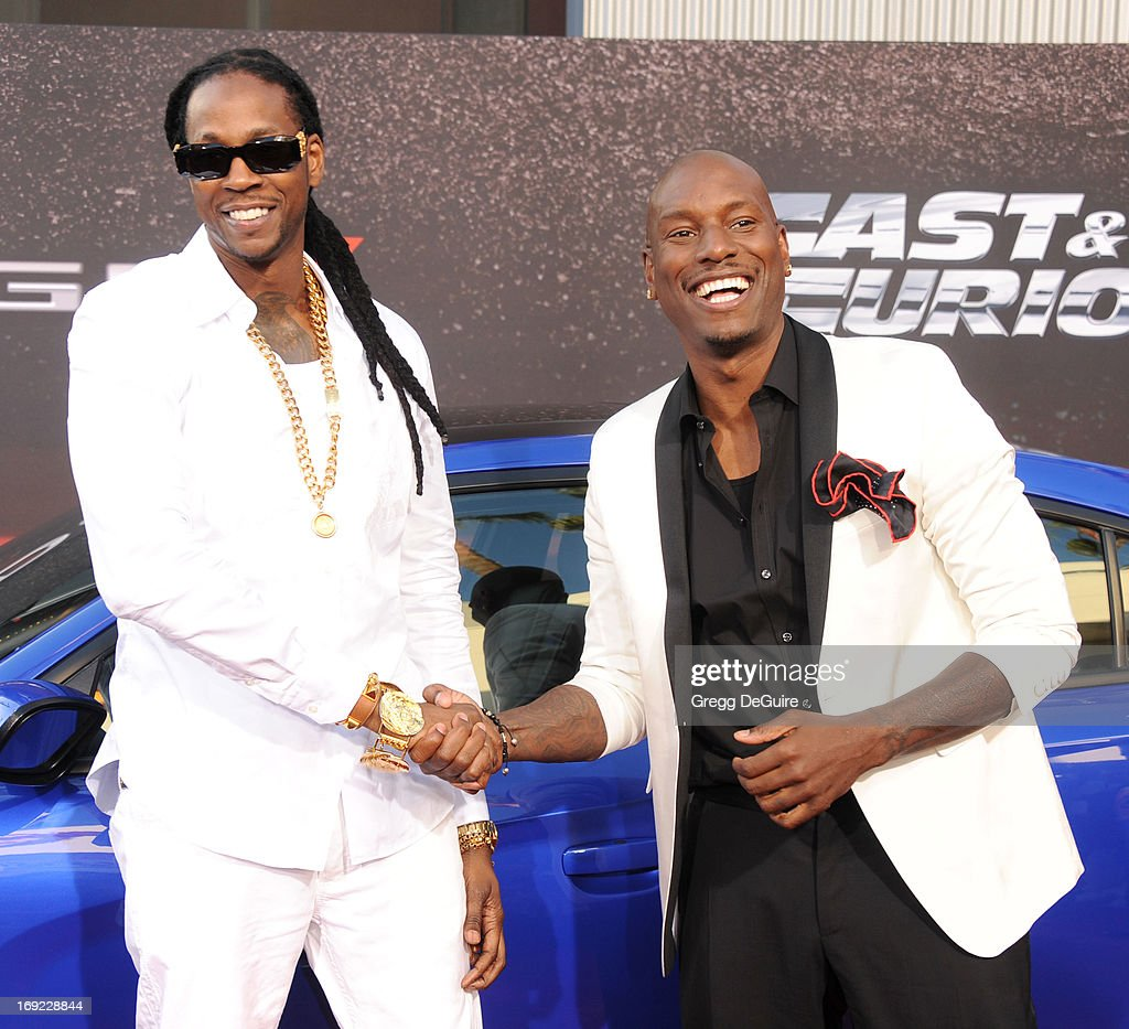 Rapper 2 Chainz and actor Tyrese Gibson arrive at the Los Angeles premiere of 'Fast & The Furious 6' at Gibson Amphitheatre on May 21, 2013 in Universal City, California.