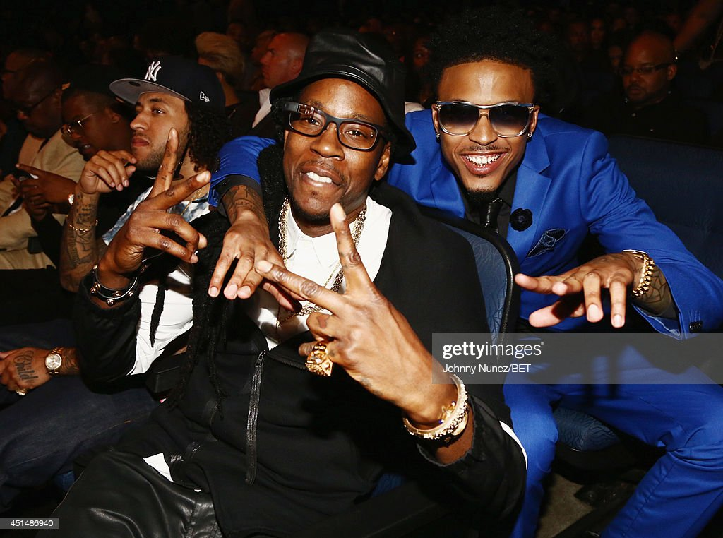 Rapper 2 Chainz and singer August Alsina attends the BET AWARDS '14 at Nokia Theatre L.A. LIVE on June 29, 2014 in Los Angeles, California.
