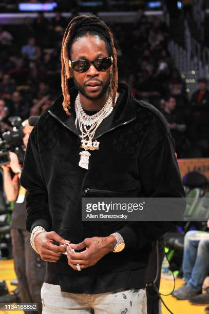 Rapper 2 Chainz attends a basketball game between the Los Angeles Lakers and the Denver Nuggets at Staples Center on March 06 2019 in Los Angeles...