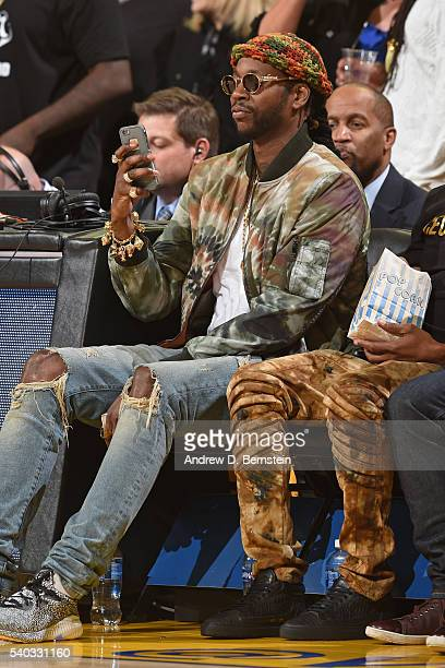 Rapper 2 Chainz attends Game Five of the 2016 NBA Finals between the Cleveland Cavaliers and the Golden State Warriors on June 13 2016 at ORACLE...
