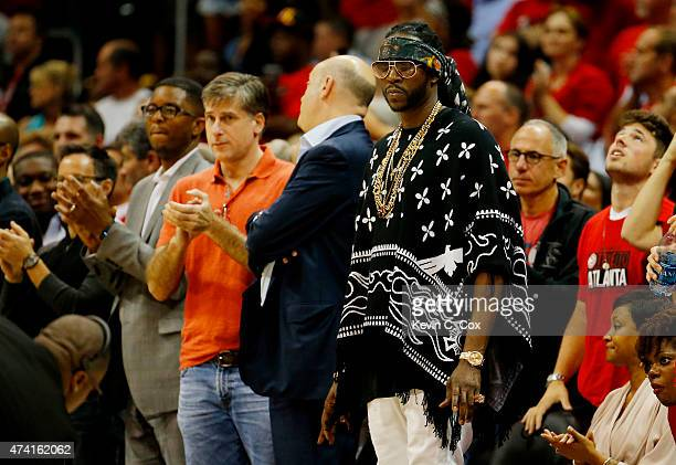 Rapper 2 Chainz attends Game One of the Eastern Conference Finals of the 2015 NBA Playoffs between the Atlanta Hawks and the Cleveland Cavaliers at...