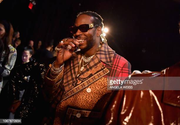 US rapper 2 Chainz attends the Versace PreFall 2019 Runway Show on December 2 2018 in New York City