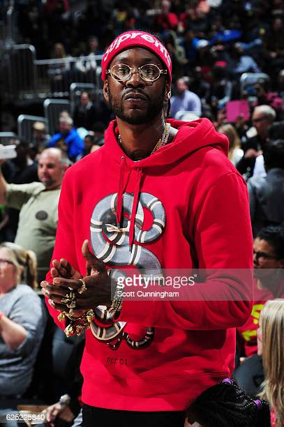 Rapper 2 Chainz is seen at the game between the New Orleans Pelicans and the Atlanta Hawks on November 22 2016 at Philips Arena in Atlanta Georgia...