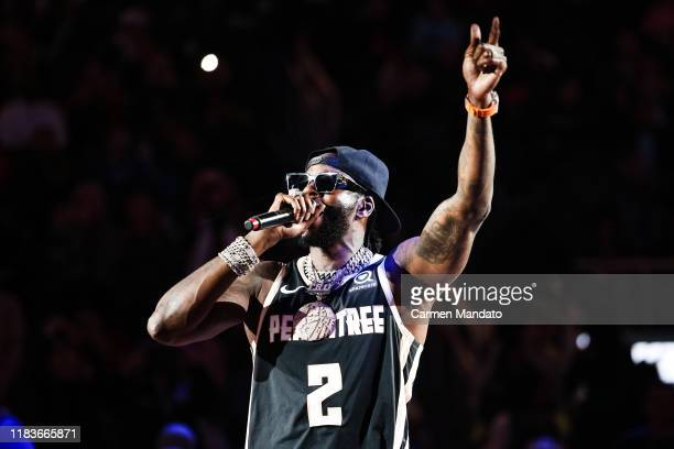 Rapper 2 Chainz performs during half time of the Milwaukee Bucks vs Atlanta Hawks game at State Farm Arena on November 20, 2019 in Atlanta, Georgia.
