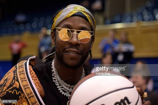 Rapper 2 Chainz poses for a photo during ESPN's College GameDay show ahead of the game between the North Carolina Tar Heels and the Duke Blue Devils...