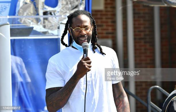 Rapper 2 Chainz speaks during North Clayton High School's Drive Through Commencement at North Clayton High School on June 01, 2020 in College Park,...