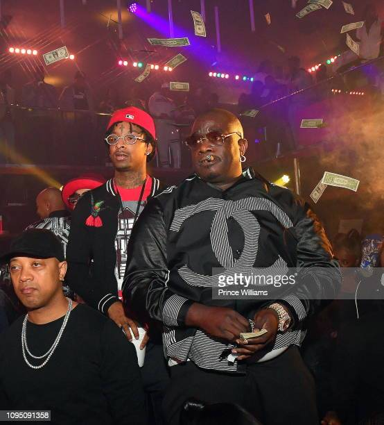 Rapper 21 Savage and actor Big Bank Black attend the 2nd annual No Cap Tuesday at Gold Room on January 16 2019 in Atlanta Georgia
