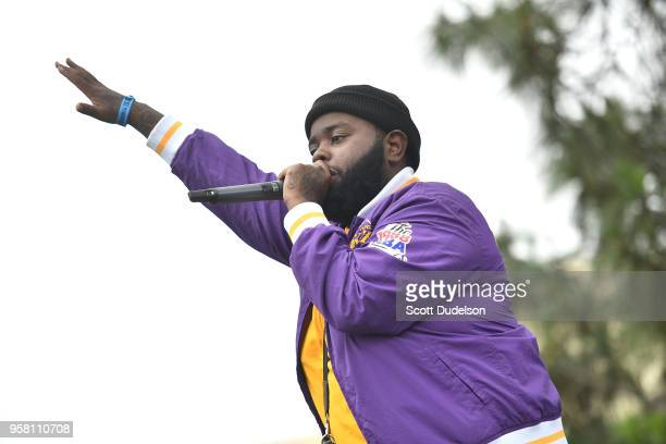 Rapper 24hrs performs onstage during the Power 106 Powerhouse festival at Glen Helen Amphitheatre on May 12 2018 in San Bernardino California
