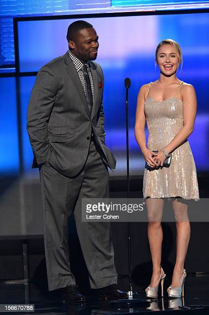 Rapper 50 Cent aka Curtis Jackson and actress Hayden Panettiere speak onstage during the 40th Anniversary American Music Awards held at Nokia Theatre...