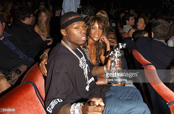 Rapper 50 Cent and actress Vivica Fox pose during the 2003 MTV Video Music Awards at Radio City Music Hall on August 28 2003 in New York City