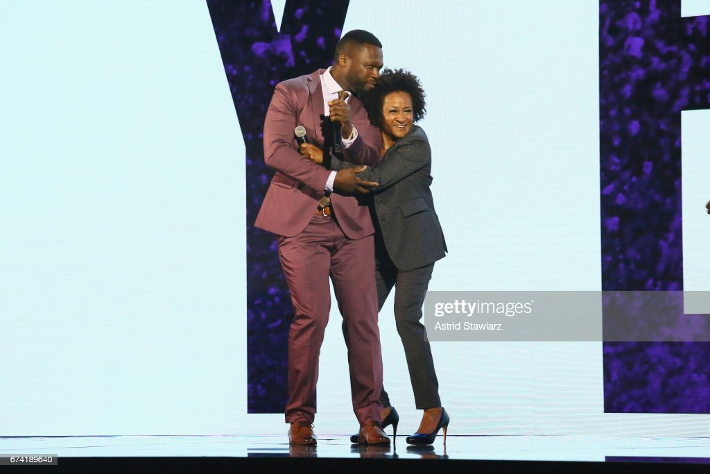 Rapper 50 Cent (L) and comedian Wanda Sykes speak onstage during the 2017 BET Upfront NY at PlayStation Theater on April 27, 2017 in New York City.