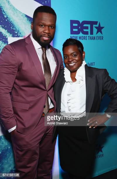 Rapper 50 Cent and Endyia KinneySterns attends the 2017 BET Upfront NY at PlayStation Theater on April 27 2017 in New York City