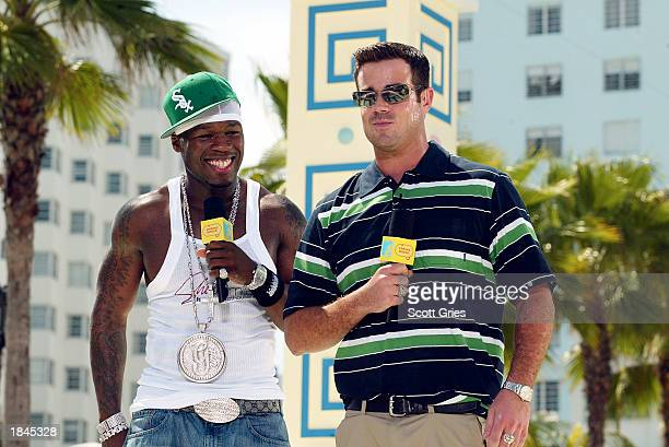 Rapper 50 Cent and host Carson Daly appear during a taping for MTV Spring Break 2003 at the Surfcomber Hotel March 12 2003 in Miami Beach Florida