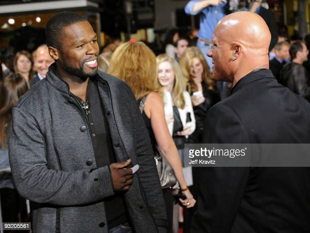 Rapper 50 Cent and Johnny Brenden arrive at The Twilight Saga New Moon premiere held at the Mann Village Theatre on November 16 2009 in Westwood...