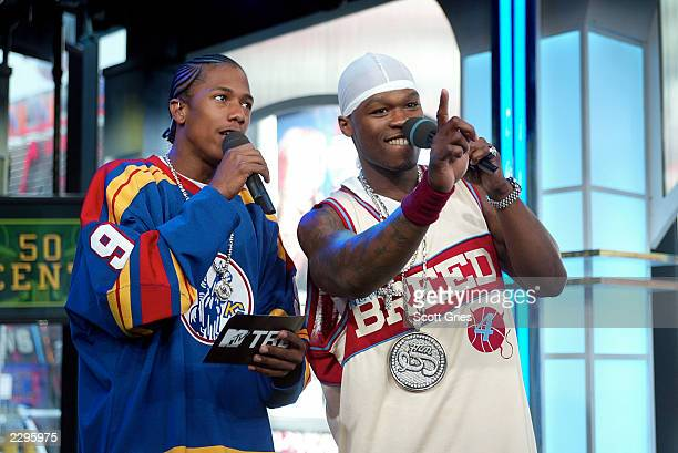 Rapper 50 Cent and VJ Nick Cannon kick off TRL High School Week on MTV at the MTV Times Square Studios April 14 2003 in New York City