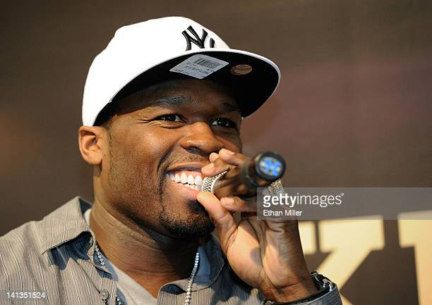 Rapper 50 Cent appears at the Street King booth at the 27th annual Nightclub & Bar Convention and Trade Show at the Las Vegas Convention Center on...