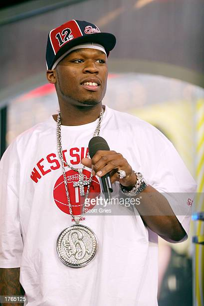 Rapper 50 Cent appears on MTV's TRL at the MTV Times Square Studios February 6 2003 in New York City