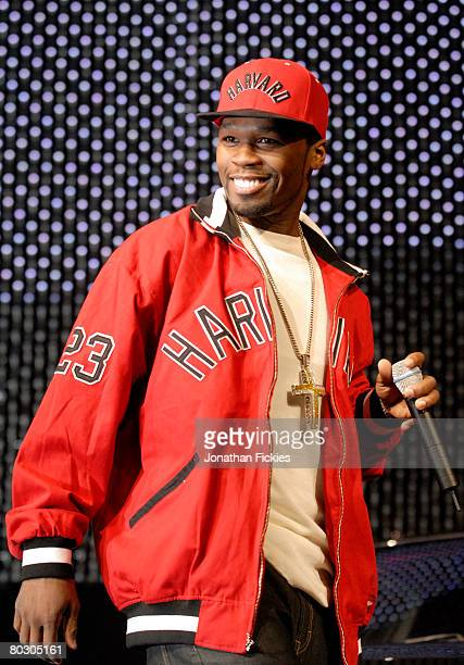 Rapper 50 Cent appears onstage during Pontiac vehicle introductions at the 2008 New York International Auto Show March 19 2008 in New York City The...