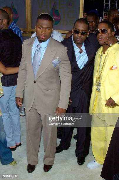 Rapper 50 Cent arrives at the 2005 MTV Video Music Awards at the American Airlines Arena on August 28 2005 in Miami Florida