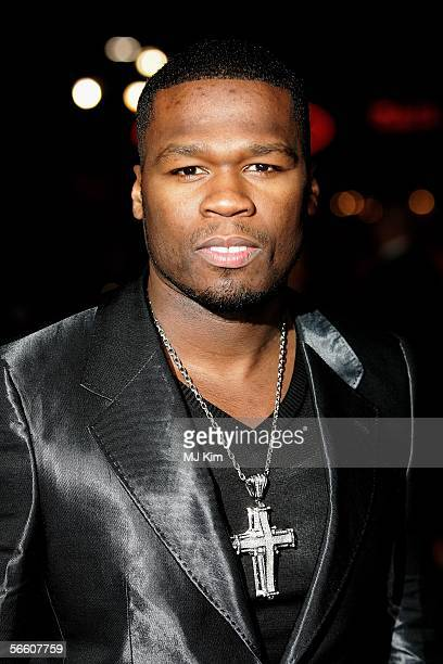 """Rapper 50 Cent arrives at the UK Premiere of """"Get Rich Or Die Tryin"""" at the Empire Leicester Square on January 17, 2006 in London, England."""