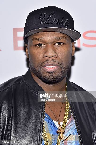 Rapper 50 Cent attends the 'Cake' screening hosted by The Cinema Society Instyle at Tribeca Grand Hotel on November 16 2014 in New York City