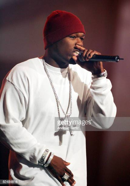 Rapper 50 Cent performs at the 'Bravo' Supershow GoldOtto Award 2005 at the TUI Arena on March 19 2005 in Hannover Germany