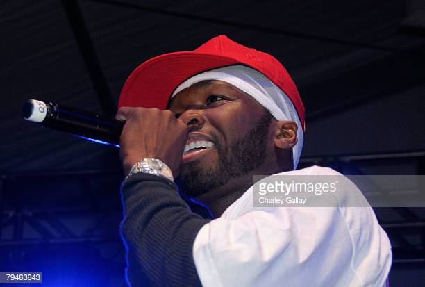 Rapper 50 Cent performs at the Celebrity Beach Bowl presented by Matt Leinart at the Scottsdale Waterfront at Stetson Canal on January 31 2008 in...