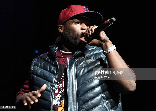Rapper 50 Cent performs during the Power 106 Cali Christmas at the Gibson Ampitheater on December 16, 2009 in Los Angeles, California.