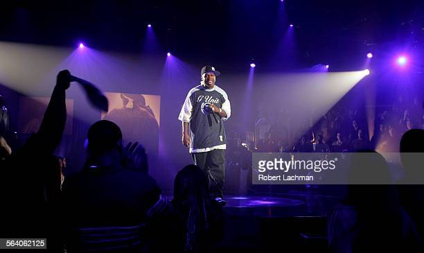 Rapper 50 Cent performs for a studio audience during the taping of the MTV show The Life Rhymes Of in Los Angeles on Monday night October 24 2005