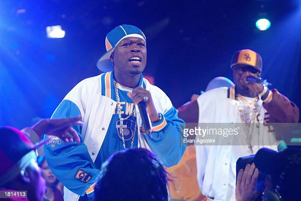 Rapper 50 Cent performs on MTV's Direct Effect at MTV studios February 24 2003 in New York City