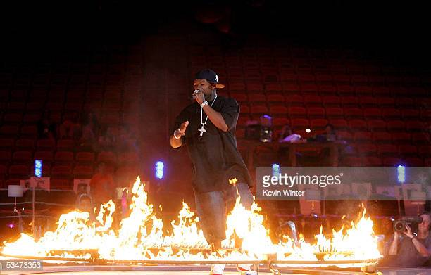 Rapper 50 Cent performs on stage during rehearsals for the 2005 MTV Video Music Awards at the American Airlines Arena August 27 2005 in Miami Florida