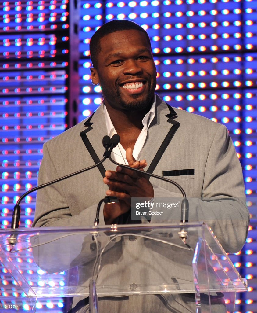 Rapper 50 Cent speaks onstage at the launch of VEVO, the world's premiere destination for premium music video and entertainmentat Skylight Studio on December 8, 2009 in New York City.