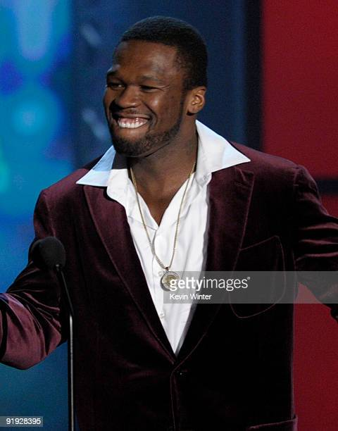 Rapper 50 Cent speaks onstage at the 'Los Premios MTV 2009' Latin America Awards held at Gibson Amphitheatre on October 15 2009 in Universal City...