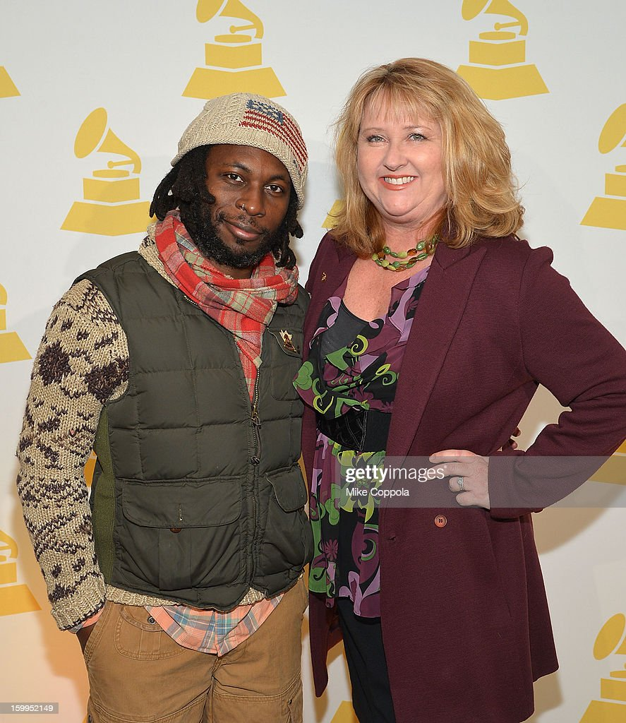 Rapper 88-keys (L) and President of The Recording Academy's New York chapter Linda Lorence Critelli attend GRAMMY Nominee Reception at The Recording Academy NY Chapter on January 23, 2013 in New York City.