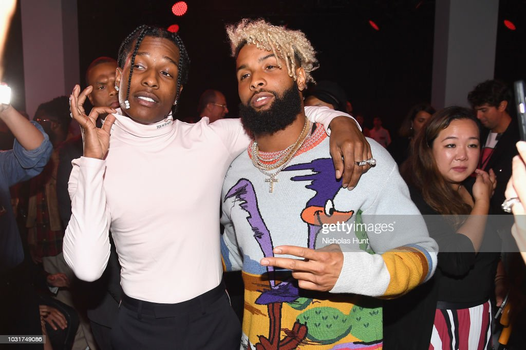 Rapper A$AP Rocky (L) and NFL player Odell Beckham Jr. attend the Calvin Klein Collection front Row during New York Fashion Week at New York Stock Exchange on September 11, 2018 in New York City.